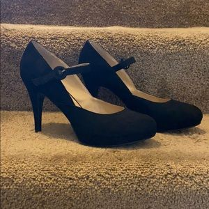 Black Fuzzy Pumps with Strap Size 9
